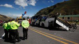 Detienen a seis colombianos por bus con droga siniestrado en Ecuador